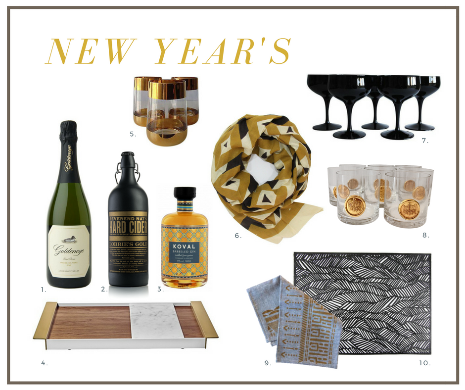 New Year's Eve Black and Brass Party, Black Glass Coupes, Vintage Gold Barware, Chilewich placemat, Ash & Anchor Napkins, Blockshop Textiles Mosaic Scarf, Ladies & Gentlemen Perimeter Tray, Goldeneye Sparkling Brut Rosé, Reverend Nat's Hard Cider, Koval Barreled Gin